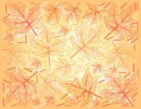 Fond tiré par la main d'Autumn Maple Leaves illustration stock