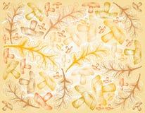 Fond tiré par la main d'Autumn Oak Leaves et des champignons illustration de vecteur