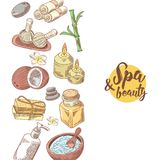 Fond tiré par la main de beauté de bien-être de station thermale Ensemble d'éléments de santé d'Aromatherapy Traitement de peau illustration stock