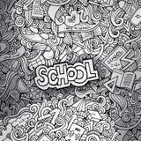 Fond tiré par la main de croquis d'école Image stock