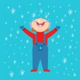 Fond traditionnel de Noël de papier d'emballage de décembre d'enfant d'hiver de temps de vecteur d'enfant de flocon de neige Image libre de droits