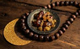 Fond traditionnel de photo de l'Islam de Ramadan avec le foyer serré Images stock
