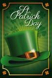 Fond traditionnel de trèfle d'affiche de célébration de chapeau de lutin de jour de St Patrick Image stock