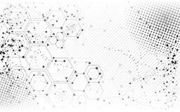 Fond tramé de conception d'abrégé sur molécule de la Science Photo libre de droits