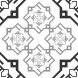 Fond transparent d'ornement de modèle de texture répétitive noire et blanche sans couture de tuile Photo stock