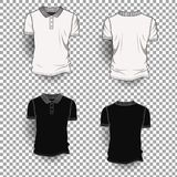 Fond transparent de Front Back Realistic Design Icon de calibre de T-shirt d'isolement Photos stock