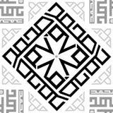 Fond transparent de modèle d'ornement de texture sans couture répétitive noire et blanche de tuile Photos libres de droits