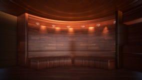 Fond tridimensionnel de couleur pour le rendu en bois du studio 3d de TV illustration de vecteur