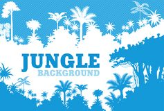 Fond tropical bleu de jungle de forêt tropicale de vecteur illustration stock