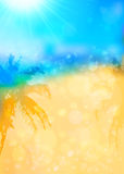 Fond tropical brouillé d'été avec des silhouettes de paumes Photos stock