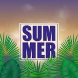 Fond tropical d'été avec les feuilles lumineuses vertes exotiques avec l'espace des textes illustration de vecteur