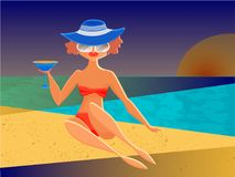 Fond tropical d'été de vecteur avec la plage, mer, palmettes Photo libre de droits