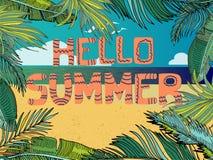 Fond tropical d'été de vecteur avec la plage, mer, palmettes Photos libres de droits