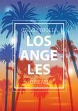 Fond tropical de couleur Bannière exotique avec des palmiers illustration libre de droits