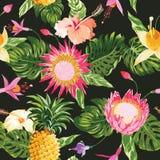 Fond tropical de fleurs Image stock