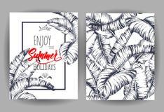 Fond tropical de palmettes Invitation ou design de carte avec des feuilles de jungle Illustration de vecteur dans le style à la m Images stock