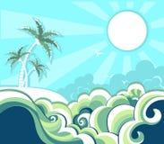 Fond tropical de paysage marin de rétro nature avec l'ISL illustration libre de droits