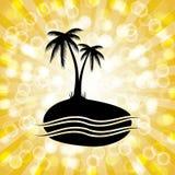 Fond tropical de silhouette de palmier avec Starburst orange Photographie stock libre de droits