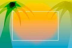 Fond tropical de style d'été avec le palmier et le coucher du soleil images stock