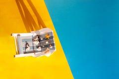 Fond tropical de vacances Canap? de Sun sur l'?le ar?nac?e, l'espace de copie, photo stock