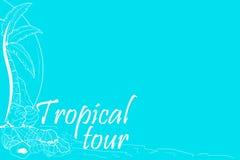 Fond tropical de visite avec la paume et les coquilles illustration de vecteur