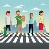 fond urbain de croisement de rue de personnes illustration de vecteur