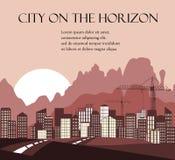Fond urbain Route à la ville Montagnes sur l'horizon illustration de vecteur