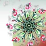 Fond vert abstrait avec des fleurs de printemps rouge Image stock