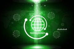 Fond vert abstrait avec l'icône de planète Image libre de droits