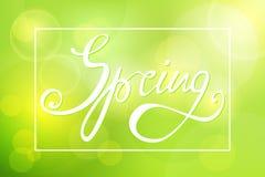 Fond vert abstrait avec l'inscription-ressort Images stock