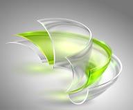 Fond vert abstrait avec les formes rondes en verre Photographie stock