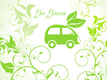Fond vert abstrait d'eco avec le véhicule Photo stock