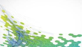 Fond vert abstrait d'hexagone de technologie Photos libres de droits