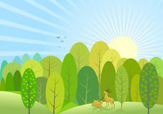 Fond vert abstrait de forêt d'arbres Photographie stock libre de droits