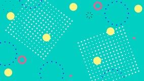 Fond vert abstrait simple avec de rétros éléments géométriques à la mode Graphique fait une boucle de mouvement illustration stock