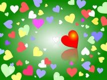 Fond vert avec des coeurs de couleurs en pastel Photos stock
