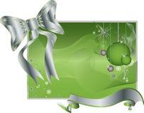 Fond vert avec la bande argentée, jouets, Bowtie Images stock