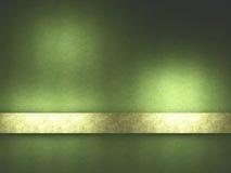 Fond vert avec la bande d'or. Images libres de droits
