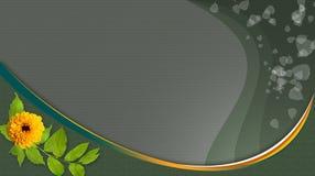 Fond vert avec la fleur jaune, lignes d'écoulement Photo stock