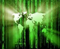 Fond vert avec le type de matrice de carte du monde Image stock