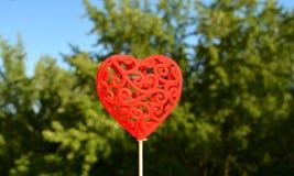 Fond vert décoratif de coeur rouge Photo stock