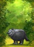 Fond vert de forêt avec un loup drôle illustration libre de droits