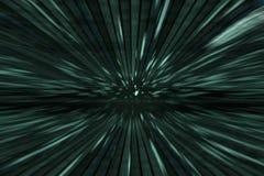 Fond vert de matrice avec le mouvement de vitesse, tache floue radiale Photos libres de droits