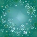 Fond vert de vecteur avec des flocons de neige Images libres de droits