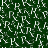 Fond vert et blanc de répétition de modèle de symbole de prescription Images libres de droits