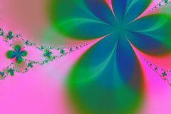 Fond vert et rose de fractale d'étoile Photos libres de droits