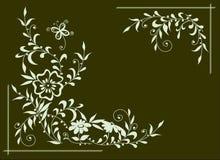 Fond vert-foncé avec les fleurs blanches Photographie stock libre de droits
