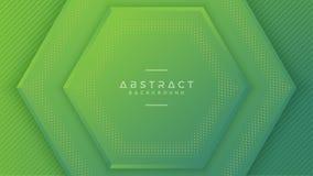 Fond vert moderne d'hexagone avec le style 3D avec l'espace vide au milieu pour votre texte Illustration du vecteur EPS10 illustration stock