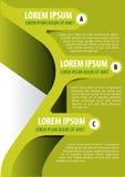 Fond vert pour la brochure avec trois étiquettes ABC Image stock