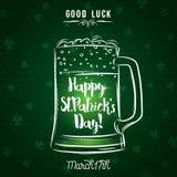 Fond vert pour le jour du ` s de St Patrick avec la tasse de bière, vecteur i Image stock